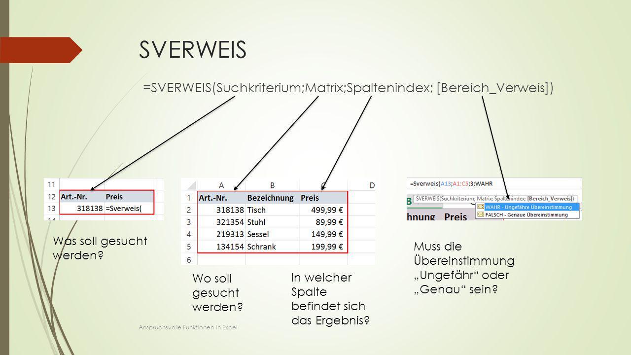 SVERWEIS =SVERWEIS(Suchkriterium;Matrix;Spaltenindex; [Bereich_Verweis]) Was soll gesucht werden